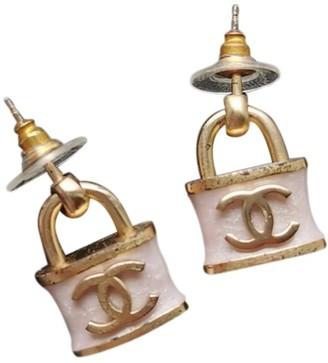 Chanel CC Pink Metal Earrings