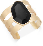 INC International Concepts Gold-Tone Black Stone Cuff Bracelet, Only at Macy's