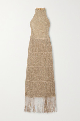 Raquel Diniz Daisy Beaded Tulle Halterneck Maxi Dress - Gold