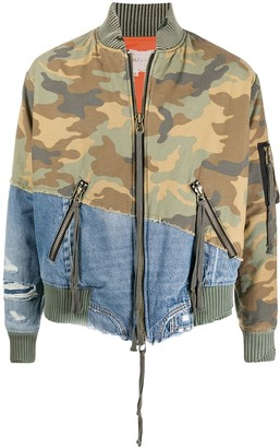 Greg Lauren Camouflage Denim Contrast Jacket