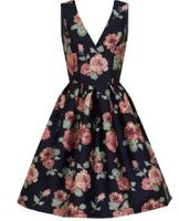 Dorothy Perkins Womens *Chi Chi London Curve Navy Floral Prom Dress- Navy