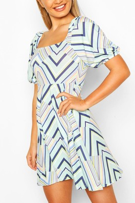 boohoo Geo Print Square Neck Skater Dress