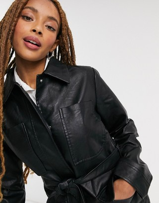 Threadbare faux leather belted shirt coat