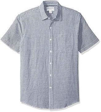Amazon Essentials Slim-Fit Short-Sleeve Gingham Linen Shirt Button,US (EU -)