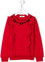 MSGM ruffled details sweatshirt - kids - Cotton - 10 yrs