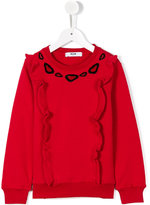 MSGM ruffled details sweatshirt - kids - Cotton - 8 yrs