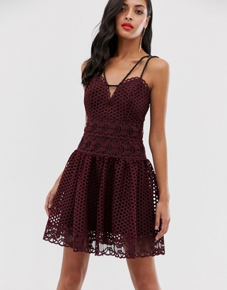 ASOS DESIGN mini dress in basket weave lace with rope trim