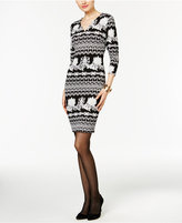 ECI Scroll-Print Sheath Dress