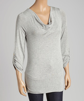 Celeste Heather Gray Roll-Tab Sleeve Drape Top