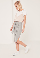 Missguided Grey Tie Waist Midi Skirt