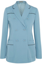 Bottega Veneta Double-breasted Faux Leather-trimmed Wool-gabardine Blazer - Sky blue