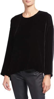 Eileen Fisher Plus Size Crewneck Long-Sleeve Velvet Top