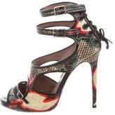 Tabitha Simmons Snakeskin Lace-Up Sandals