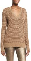 Ralph Lauren Metallic Deco Knit V-Neck Sweater, Brown