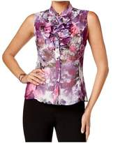 Tahari by Arthur S. Levine Printed Ruffled Button Front Blouse.
