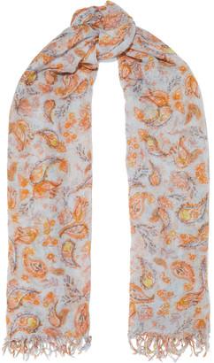 Chan Luu Frayed Printed Cashmere And Silk-blend Gauze Scarf