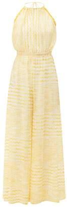Missoni Mare - Zigzag-knit Halterneck Jumpsuit - Womens - Pink