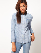 River Island Leather Look Collar Denim Over Shirt