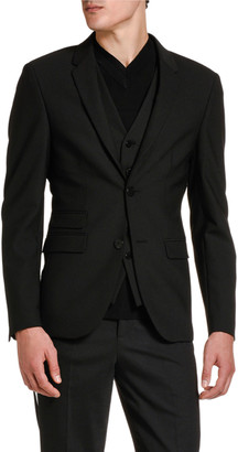 Neil Barrett Men's Two-Button Knit Jacket w/ Attached Vest Detail