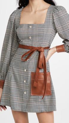 STAUD Oz Plaid Faux Leather Trim Dress