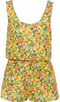 Stella McCartney Printed Cotton And Silk-blend Playsuit - Yellow