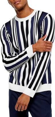 Topman Vertical Stripe Crewneck Sweater