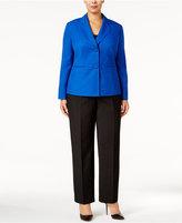 Le Suit Plus Size Colorblocked Melangé Pantsuit