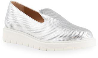 Aquatalia Kay Embossed Metallic Loafers