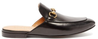 Gucci Princetown Backless Leather Loafers - Black