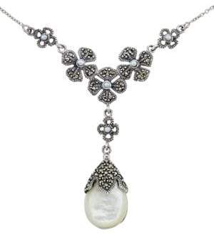 Lord & Taylor Mother of Pearl Pear Pendant Necklace