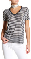 Genetic Los Angeles Alex V-Neck Grey and White Striped Tee