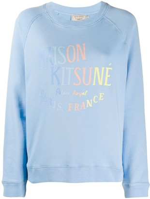 MAISON KITSUNÉ Logo Print Round Neck Sweatshirt