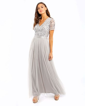 Maya Deluxe Women's Maya Soft Grey Stripe Embellished Maxi Dress with Sash Belt Bridesmaid 8