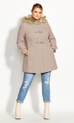 City Chic Wonderwall Coat - petal