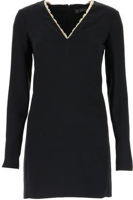 Versace Chain Detail V-Neck Dress