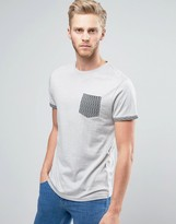Bellfield T-Shirt With Contrast Pocket And Rolled Sleeves