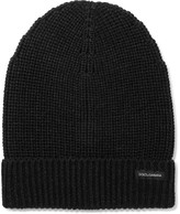 Dolce & Gabbana Ribbed Virgin Wool Beanie