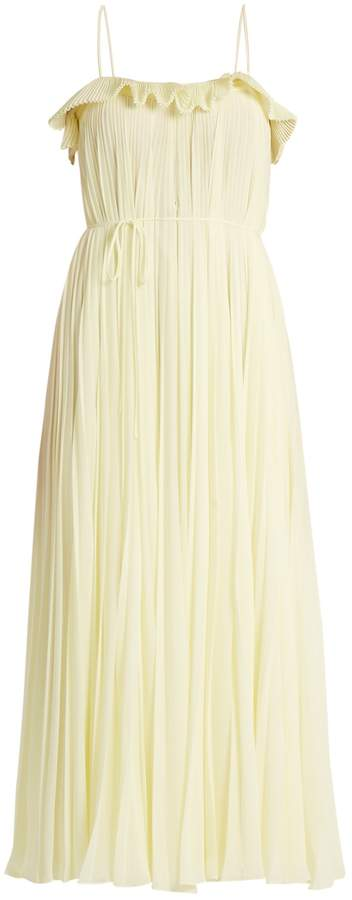 ADAM by Adam Lippes Ruffle-trimmed square-neck pleated dress