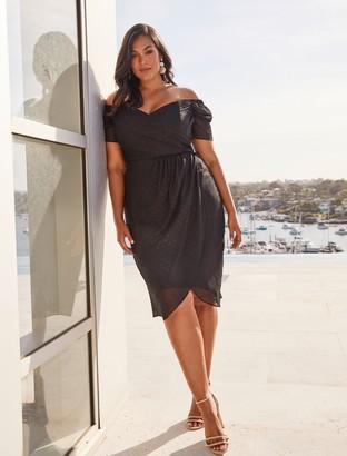 Forever New Rachel Curve Metallic Dobby Dress - Black - 16