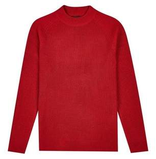 Mens Red Fisherman Rib Crew Neck Jumper