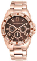 Vince Camuto Crystal Baguette Rose-Goldtone Stainless Steel Watch
