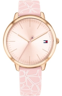 Tommy Hilfiger Women's Blush & White Floral Silicone Strap Watch 36mm, Created for Macy's