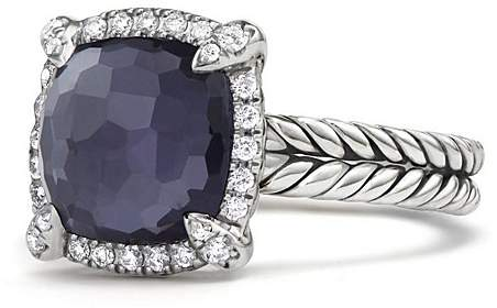 David Yurman Ch'telaine Pavé Bezel Ring with Black Orchid and Diamonds