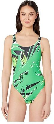 Speedo Shattered Palm Super Pro One-Piece Green) Women's Swimsuits One Piece