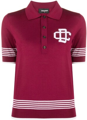 DSQUARED2 Virgin Wool Polo Top With Stripe And Logo Detail