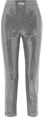 Badgley Mischka Cropped Sequined Metallic Stretch-jersey Slim-leg Pants
