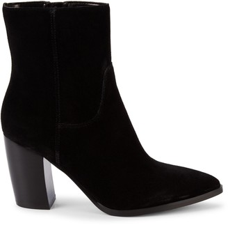 Marc Fisher Giana Stacked-Heel Suede Booties