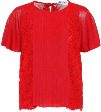 Valentino Lace-panelled top