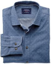 Charles Tyrwhitt Extra Slim Fit Mid Blue Dobby Spot Cotton Casual Shirt Single Cuff Size XL