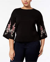 INC International Concepts Plus Size Embroidered Bell-Sleeve Top, Created for Macy's